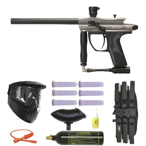 Spyder Fenix Electronic Paintball Marker Gun 3Skull Mega Set - Silver/Grey by Spyder