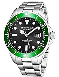 Stuhrling Original Men's 824.03 Aquadiver Date Stainless Steel Link Bracelet Watch