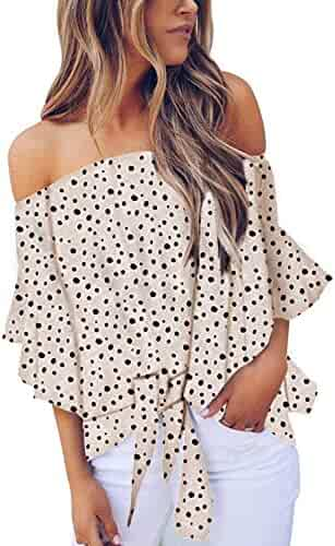 Asvivid Womens Vintage Polka Dot Printed Off The Shoulder Tops 3/4 Sleeve Tie Knot Shirt Chiffon Bloues