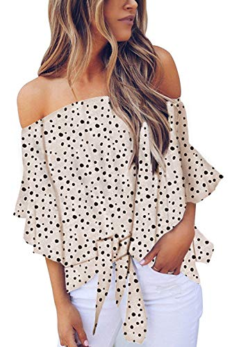 (Asvivid Womens Boho Polka Dot Printed Summer Off The Shoulder Tops Bell Sleeve Tie Knot Tunic Shirt Plus Size 1X White)