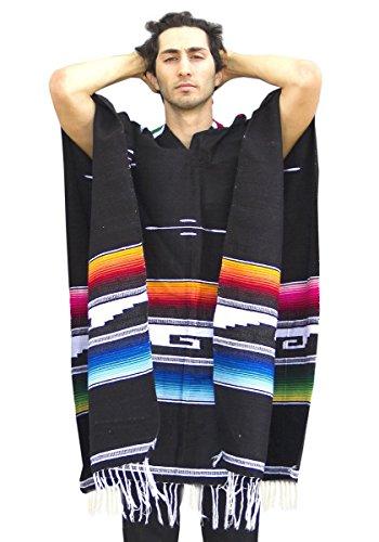 Del Mex Serape Style Mexican Aztec Poncho (Black) ()
