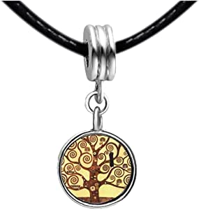Chicforest Silver Plated The Tree Of Life Painting Photo Blue Aquamarine Crystal March Birthstone Flower dangle Charm Beads Fits Pandora Charms