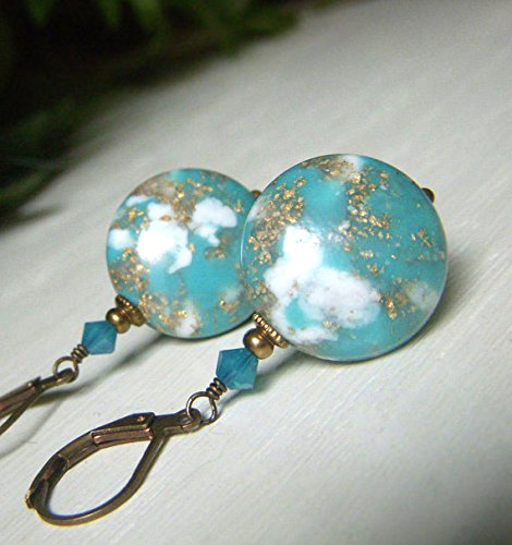 Pierced Lucite Earrings (Aqua Coin Bead Earrings, Large Blue and Gold Fleck, Brass Dangle, Vintage Style Round Lentil)