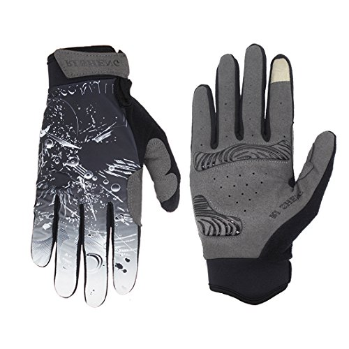 SHARBAY Unisex Touch Screen Cycling Gloves Full Finger Biking Gloves Road Racing Bicycle Gloves MTB DH Downhill Off Road Working Out Glove (Black, L)