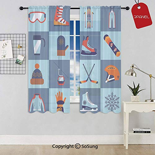 Ice Skating Winter Sports Skiing Boot Cap Glasses Glove Helmet Skates Snowboard Print Rod Pocket Sheer Voile Window Curtain Panels for Kids Room,Kitchen,Living Room & Bedroom,2 Panels,Each 52x72 Inch,