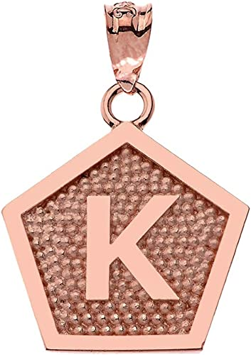 LA BLINGZ 10K Rose Gold Letter I Initial Pentagon Pendant Necklace