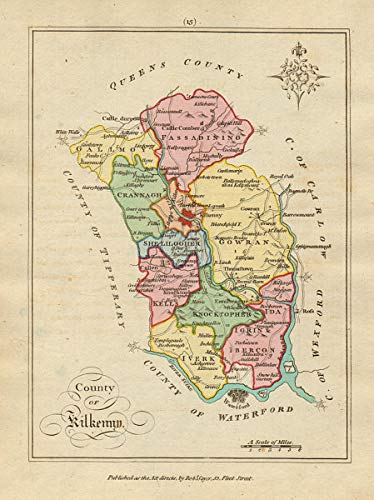 Map Of Ireland Showing Kilkenny.Amazon Com County Of Kilkenny Leinster Antique Copperplate Map By