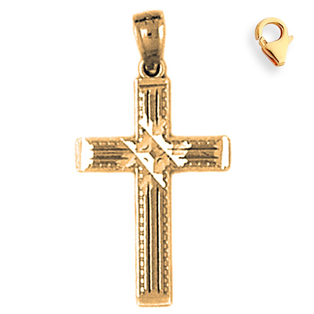 Silver Yellow Plated Cross Charm 27mm