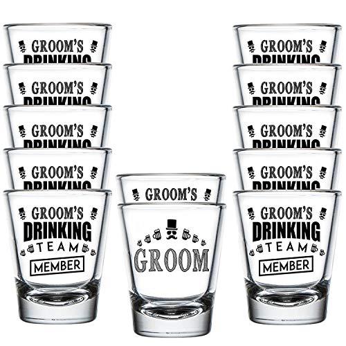 Shop4Ever Groom and Groom's Drinking Team Member Shot Glasses ~ Bachelor Party Favors ~ (12 Pack)]()