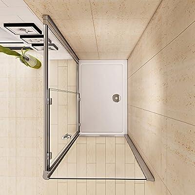 1200 x 700 mm de cristal corredera para mampara de ducha con Panel lateral de cristal y Juego de bandeja de ducha al siguiente día hábil entrega: Amazon.es: Hogar