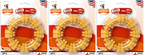 Nylabone Dura Chew Large Textured Ring Dog Chews, Chicken Flavor, Pack of 3