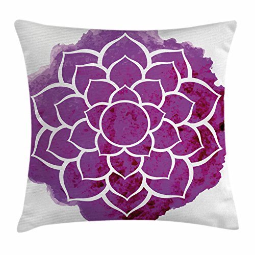 Purple Mandala Throw Pillow Cushion Cover by Ambesonne, Watercolor Lotus Flower Yoga Meditation Zen Boho Style Painbrush Artwork, Decorative Square Accent Pillow Case, 18 X 18 Inches, Fuchsia White