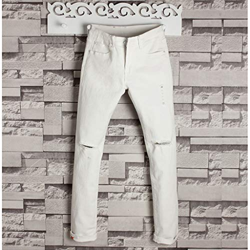 Allywit Men's Skinny Jeans Fashion Teen Boys Stretch Slim Fit Ripped Destroyed Distressed Denim Jeans Pants Big and Tall White by Allywit-Pants (Image #1)