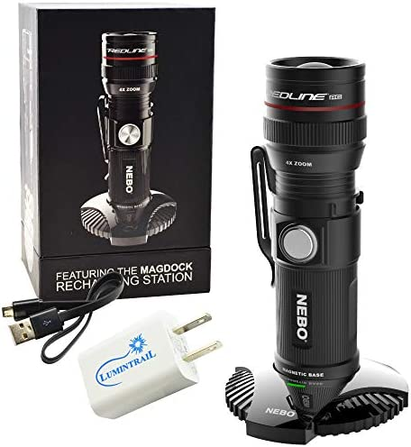NEBO Redline RC Magdock 320 Lumen Rechargeable Flashlight Bundle with a Lumintrail USB Wall Plug