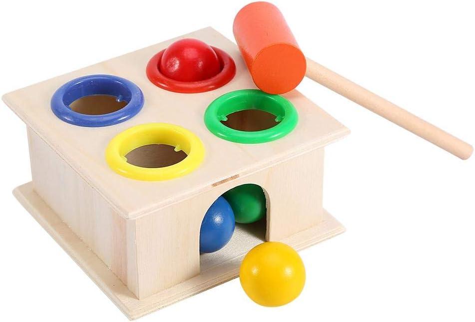 Tnfeeon Juego de Martillo y 4 Bolas de Madera Juego de martilleo Aprendizaje Juguete Educativo DE Caja de Empuje ni/ños