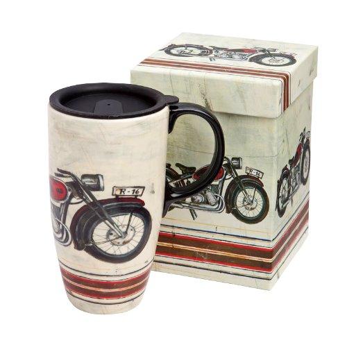 Cypress Boxed Ceramic Travel Latte Mug, Motorcycle Madness(17oz) (Ceramic Latte Travel Mug)