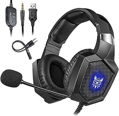 Cocoda Cascos Gaming PS4, Auriculares Gaming Estéreo Cancelación Ruido con Micro, Luz LED RGB, Orejeras de