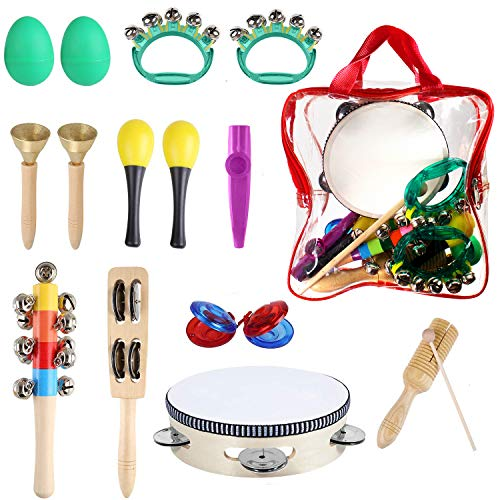 StillCool Toddler Musical Instrument Toy, 11 Types 16pcs Percussion Instruments Toy Including Tambourine,Shaker Egg,Maracas etc. Early Learning Toys for Toddlers, Music Party Supplies with Storage Bag