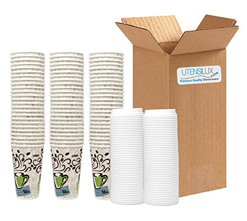 (Dixie Perfectouch Insulated Paper Hot Cup, Coffee Haze Design, 16 oz, 75 Cups Plus 50 White)