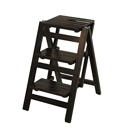 LAXF Home Solid Wood Mobile Staircase Stool, Dual Use Chairs, Two Step