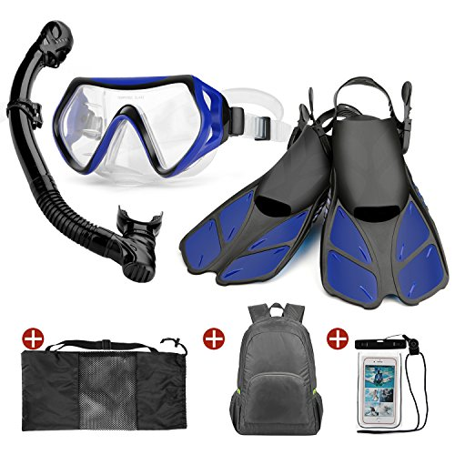 Odoland 6-In-1 Snorkeling Packages, Adult Mask with Splash Guard Snorkel and Adjustable Swim Fins and Lightweight Backpack and Waterproof Case (Fins Boots Snorkel)