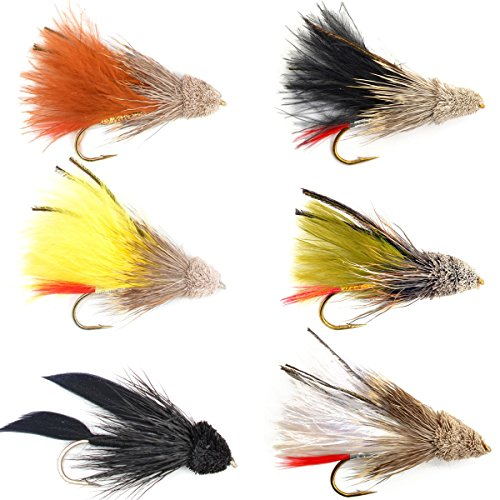The Fly Fishing Place Streamer Fly Assortment - Guide's Choice Marabou Muddler Minnow Streamer Flies Collection - 6 Fly Fishing Flies - Sizes 4