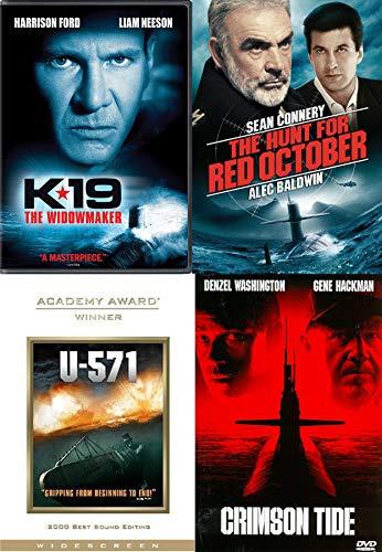 Hunt is On Quad Sub Films K19 Widowmaker / U-571 / Red October / Crimson Tide War Military 4 Feature DVD Films