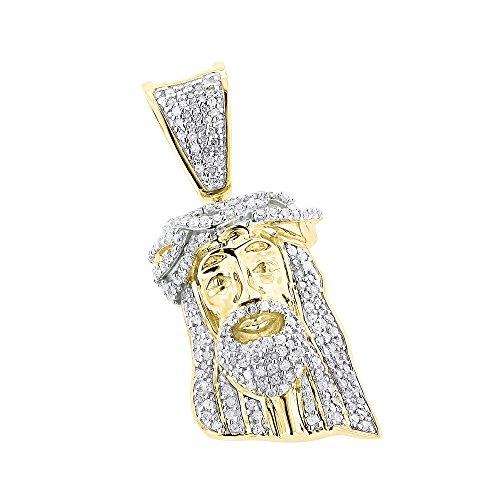 10K Solid Rose, White or Yellow Gold Mini Diamond Jesus Head Pendant 0.4ctw (Yellow Gold) (Pendant Jesus Yellow Gold)
