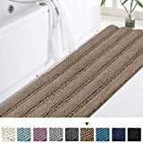 Turquoize Non-Slip Bathroom Rug Shag Extra Large 59' x 20' Chenille Runner Rug Ultra Soft Thick Area Rugs Microfiber Quick Drying Chenille Bath Mat Water Absorbent Living Room Bedroom Carpet - Taupe