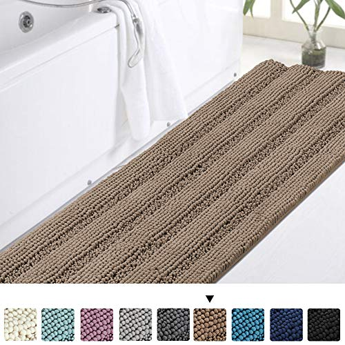 Turquoize 20 x 59 Inch Non-Slip Mat Area Rug Chenille Bath Mat Absorbent Microfiber Quick Drying Chenille Bath Mat Shaggy Machine-Washable Living Room Bedroom Carpet - Taupe
