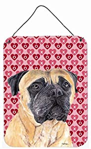 "Caroline's Treasures SC9255DS1216 Mastiff Hearts Love and Valentine's Day Portrait Wall or Door Hanging Prints, 16"" x 12"", Multicolor"