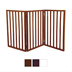 Gate for Dog, Cats - Freestanding Wooden Pet Gate - Dog Doors - Cat Doors, Gates & Ramps,-Color: Mahogany, Size : 55 x 1 x 24 inches