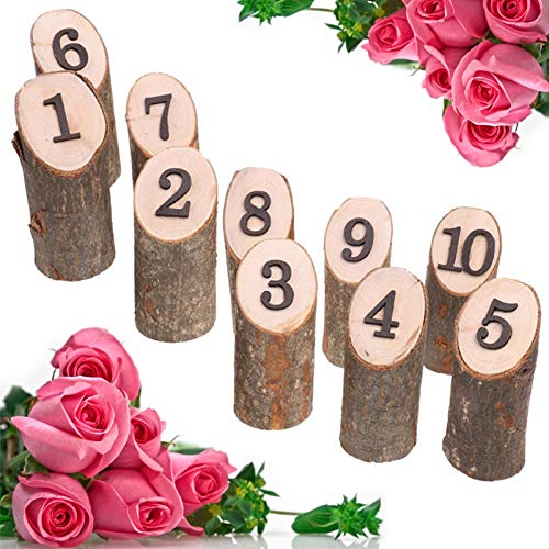 m·kvfa 1-10 Numbers Rustic Wooden Hanging Ornament Wedding Table Home Decoration for Christmas Halloween Wedding Party Birthday]()