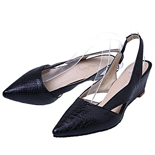AllhqFashion Womens Low-Heels Checkered Pull-On PU Pointed-Toe Pumps-Shoes Black BywGizJ