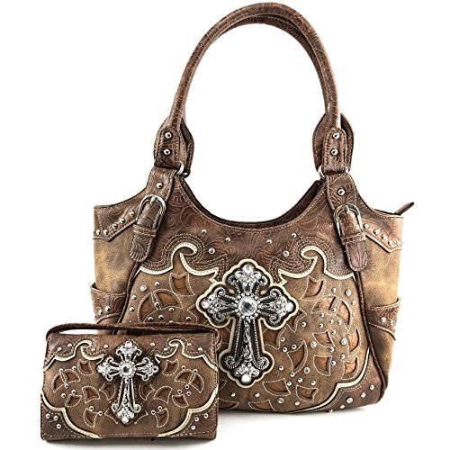 Justin West Tooled Leather Laser Cut Rhinestone Cross Studded Shoulder Concealed Carry Tote Style Handbag Purse (Brown Handbag and Wallet)