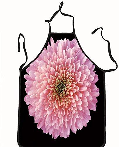 chanrancase tailored apron pink red purple flower chrysanthemum garden f Children, unisex kitchen apron, adjustable neck for barbecue 26.6x27.6+10.2(neck) INCH