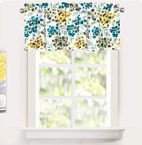DriftAway Oliver Watercolor Flower Leaves Botanical Pattern Thermal Insulated Blackout Lined Rod Pocket Window Curtain Valance for Kitchen Caf 52 Inch by 18 Plus 2 Inch Header Yellow Green
