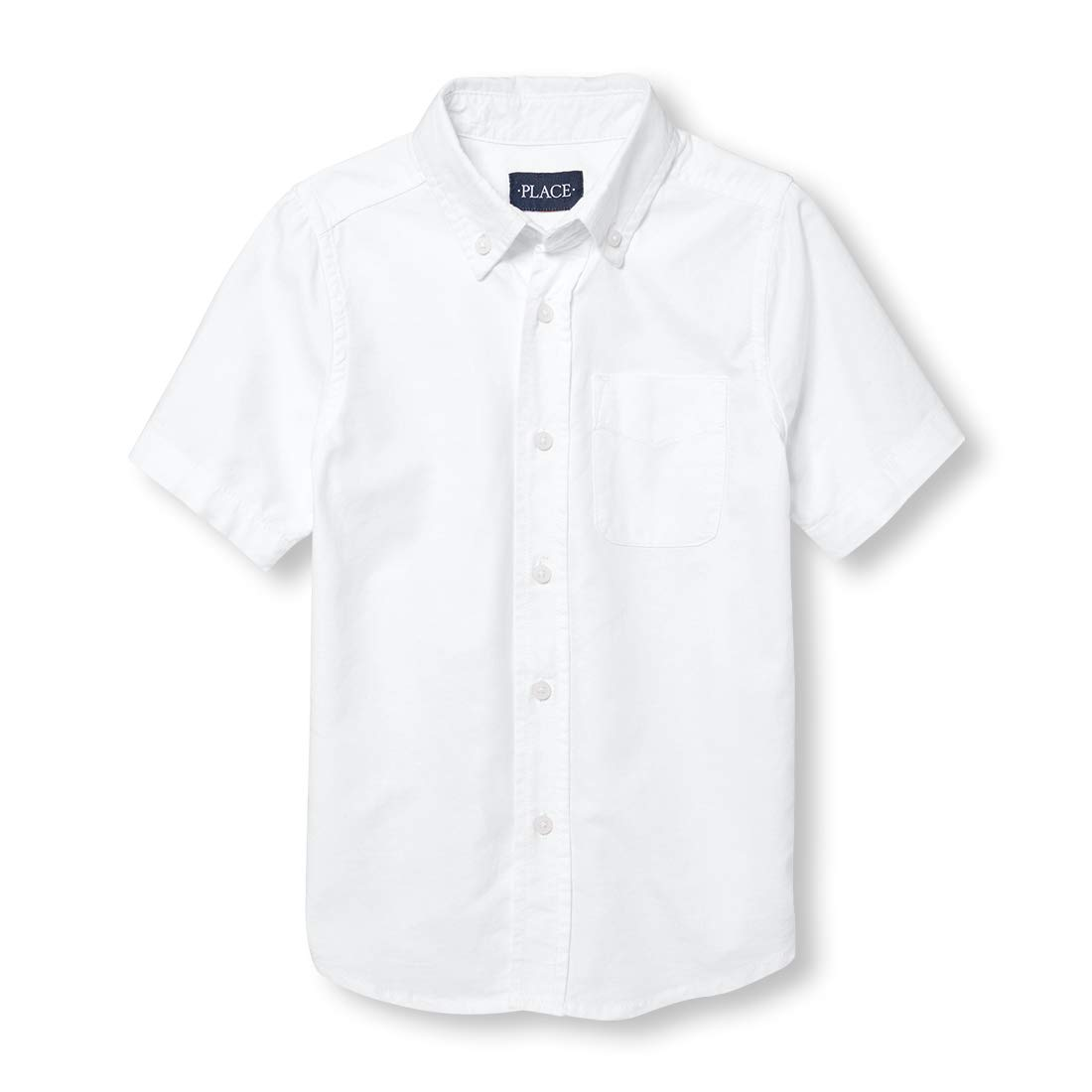 The Children's Place Boys' Little Short Sleeve Uniform Oxford Shirt, White 4765, Small/5/6 by The Children's Place