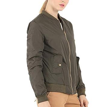 Qiusa Womens Winter Stand Collar Solid Full Zipper Outwear Abrigo Chaqueta Bomber (Color : Verde, tamaño : 3X): Amazon.es: Hogar