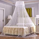 UBEGOOD Ubgood Mosquito Net, Bed Canopy Lace Round Dome Net Canopy Bedding for Queen Bed, Girls, Toddlers, Over Baby Crib Indoor or Outdoor Use, White