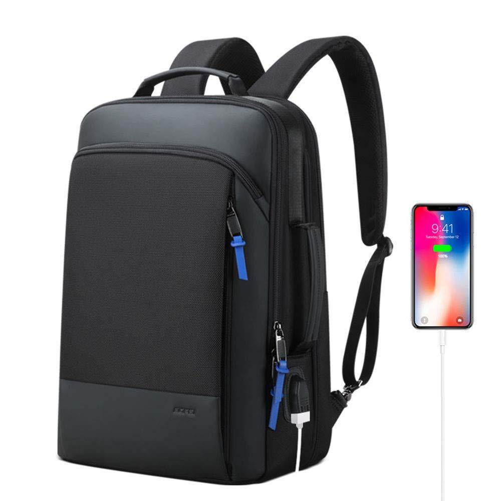 男性拡張可能バックパック、盗難防止ビジネスバックパック、USB充電ポート付き15.6インチラップトップバックパック、トラベルバックパック、ブラック B07T9MKCNW