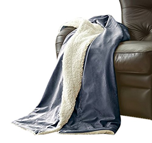 Amrapur Overseas | Micro Mink Reverse Sherpa Throw (Indigo Blue) - SET INCLUDES: (1) Throw MATERIALS: 100% Microfiber FEATURES: This plush blanket is super soft, durable, and lightweight. It's wrinkle and fade resistant, doesn't shed, and is suitable for all seasons. - blankets-throws, bedroom-sheets-comforters, bedroom - 51ZIGsd3pmL -