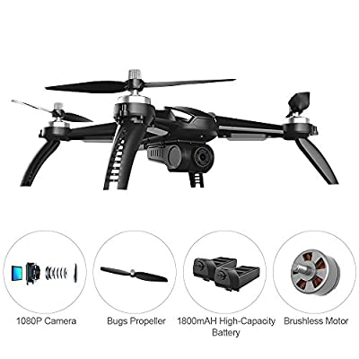 MOSTOP MJX B5W Bugs 5 W RC Quadcopter Drone 1080P 5G WiFi Camera Live Video 2.4GHz Remote Control Aircraft 6-Axis Gyro FPV Drone with GPS Return Home, Altitude Hold, Follow Me, 2 Battery