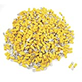 Uxcell 1000 Pieces Yellow PVC Sleeve Insulating Spade Crimp Terminal Connector for 12-10 AWG