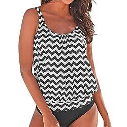 Tifenny Women Plus Size Swimwear Bikini Set Bandage Push Up Padded Swimsuit Bathing Suit Conservative Shirt Beachwear Black