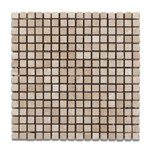 Durango Cream (Paredon) Travertine 5/8 X 5/8 Tumbled Mosaic Tile - Sample Piece - Mexican Travertine Floor Tile