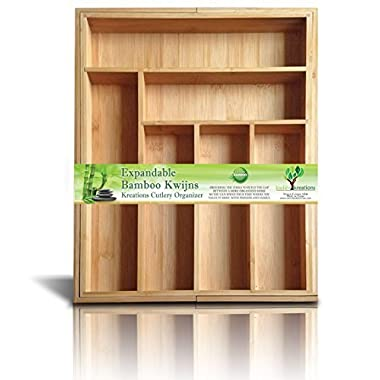 Expandable Bamboo Silverware Organizer 6-8 Slots Adjustable Amazing Drawer Inserts with Deep Dividers for Storage of Flatware, Cutlery, Wooden or Stainless Utensils - Kitchen Knives to Jewelry