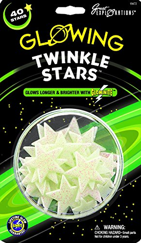 Glow in the Dark Twinkle Glitter Stars - 40 stars per package - Safe For Walls