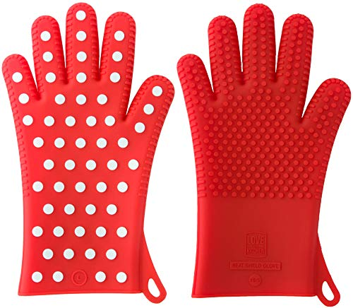 Finally! Heavy-Duty Women's Silicone Oven Mitts by Love This Kitchen | 2 Women's Sizes Available | Heat Resistant Gloves For Her Cooking, Baking & Barbecue Needs (1 Pair, X/S [See ()
