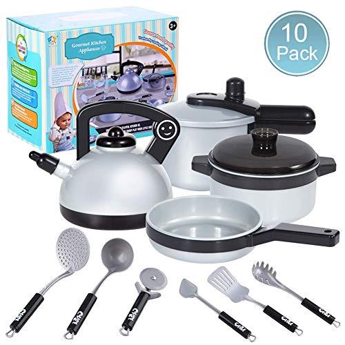 ZGWJ Pretend Play Kitchen Set for Kids,10 Piece Kids Cookwar